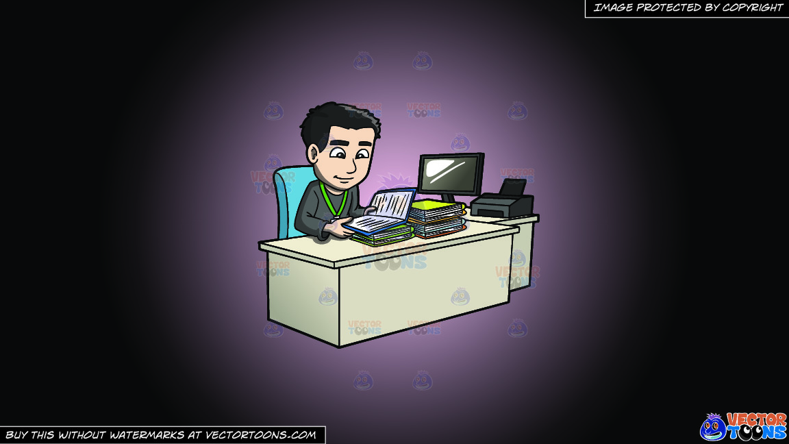 A Man Reviewing Files And Data On A Pink And Black Gradient Background thumbnail