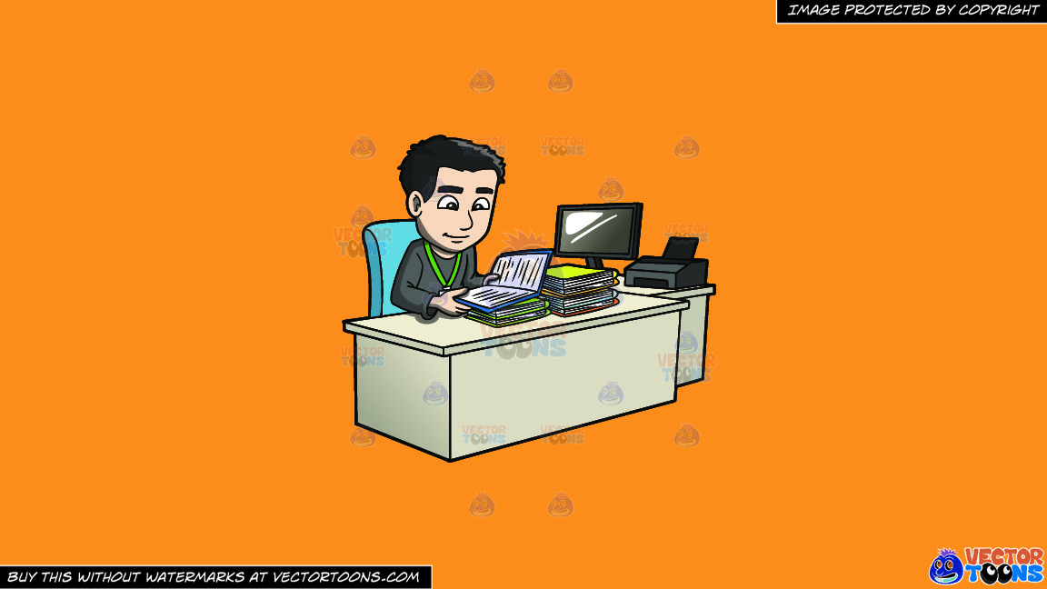 A Man Reviewing Files And Data On A Solid Deep Saffron Gold F49d37 Background thumbnail