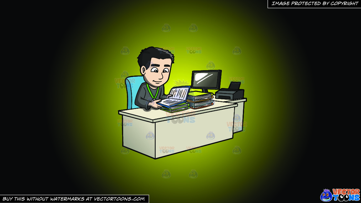 A Man Reviewing Files And Data On A Yellow And Black Gradient Background thumbnail