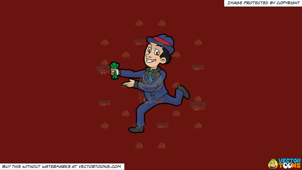 A Man Running With A Bunch Of Cash In His Hand On A Solid Maroon 69140e Background thumbnail