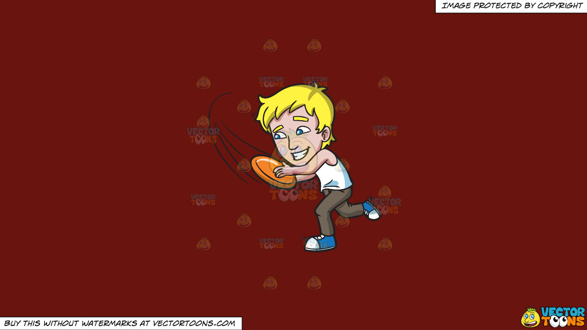 A Man Runs To Catch A Fast Frisbee On A Solid Maroon 69140e Background thumbnail