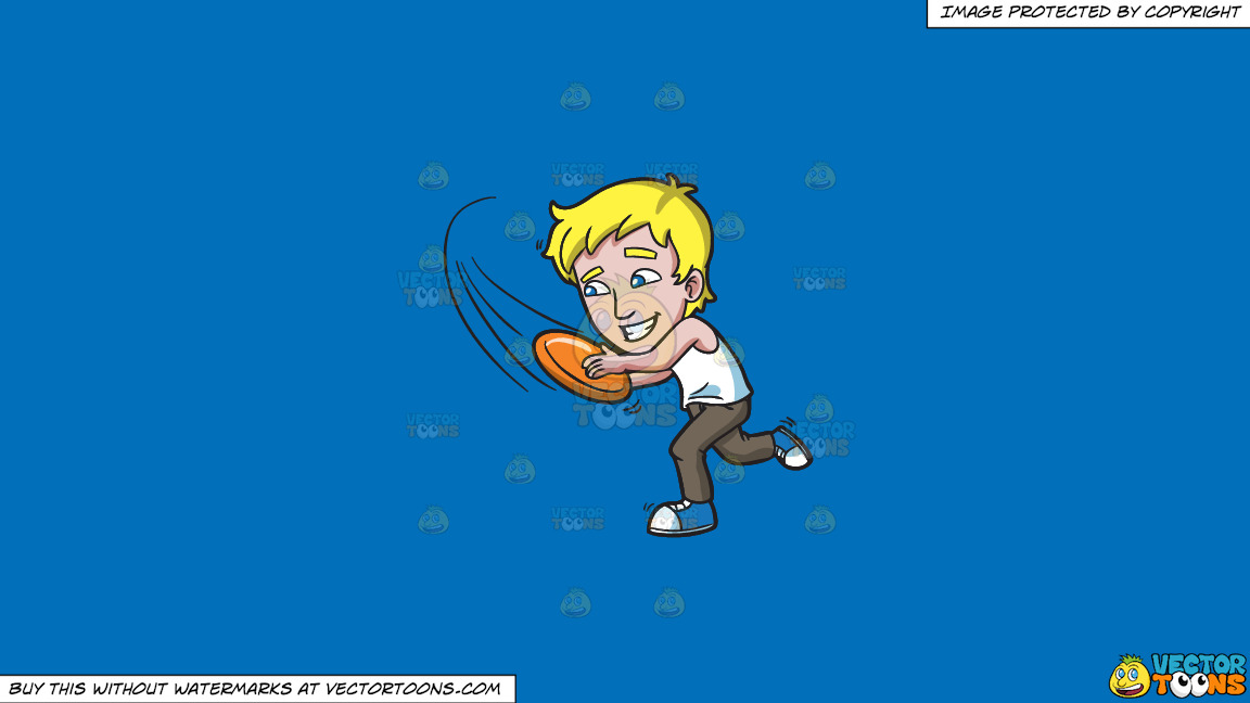 A Man Runs To Catch A Fast Frisbee On A Solid Spanish Blue 016fb9 Background thumbnail
