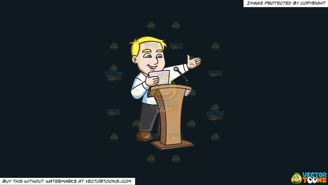 A Man Saying His Speech In Front Of A Crowd On A Solid Off Black 0f1a20 Background thumbnail