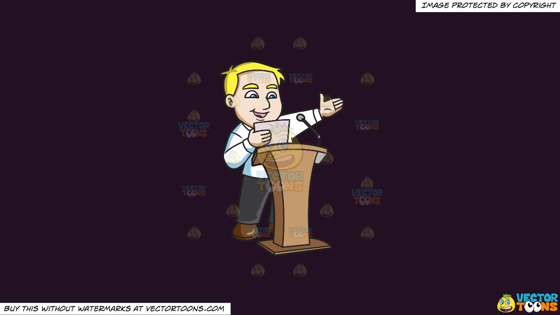 A Man Saying His Speech In Front Of A Crowd On A Solid Purple Rasin 241023 Background thumbnail