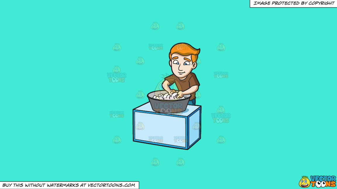 A Man Scrubbing The Clothes That He Is Washing On A Solid Turquiose 41ead4 Background thumbnail