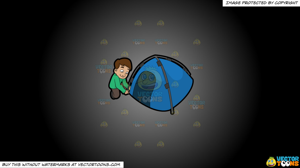 A Man Setting Up His Camp Tent On A Grey And Black Gradient Background thumbnail
