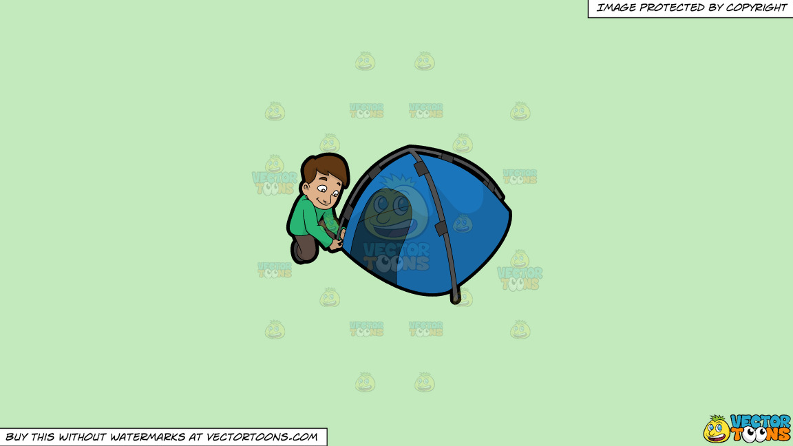 A Man Setting Up His Camp Tent On A Solid Tea Green C2eabd Background thumbnail