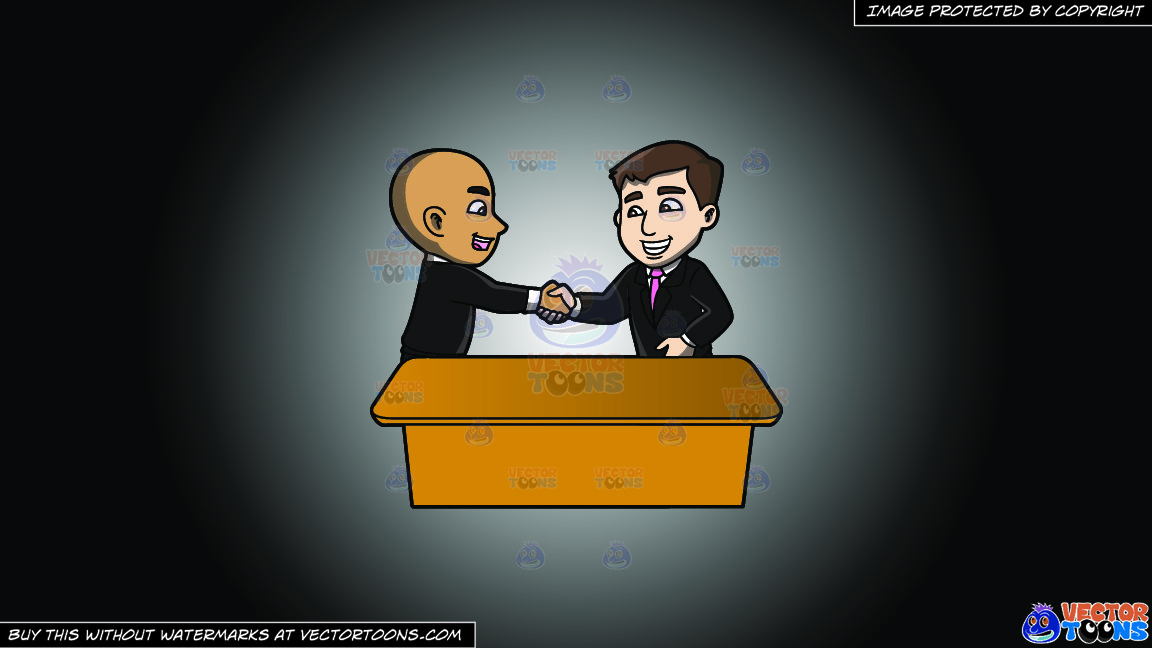 A Man Shaking The Hand Of A Newly Hired Employee On A White And Black Gradient Background thumbnail