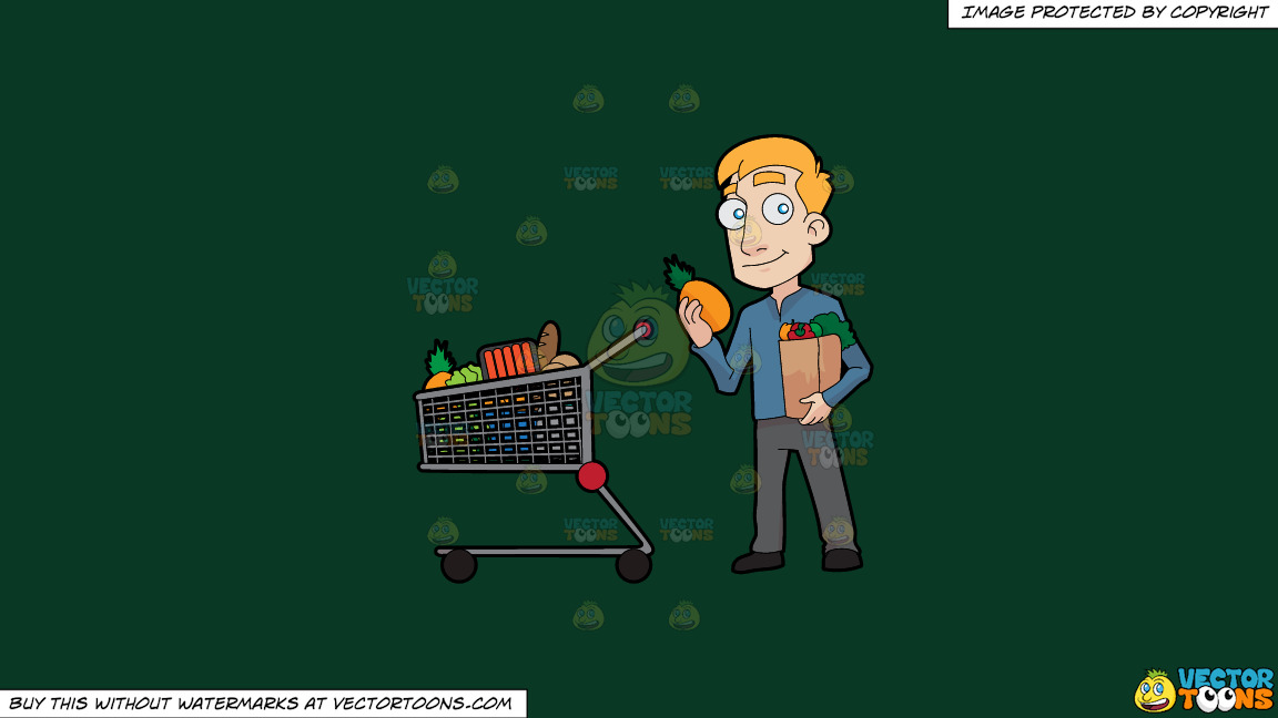 A Man Shopping For Healthy Food On A Solid Dark Green 093824 Background thumbnail