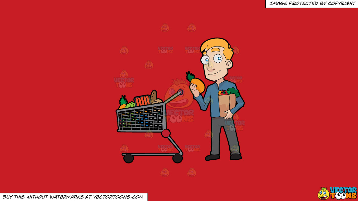 A Man Shopping For Healthy Food On A Solid Fire Engine Red C81d25 Background thumbnail