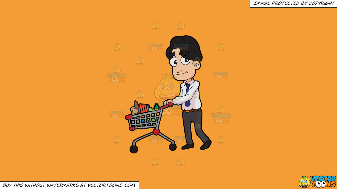 A Man Shops For Groceries After Work On A Solid Deep Saffron Gold F49d37 Background thumbnail