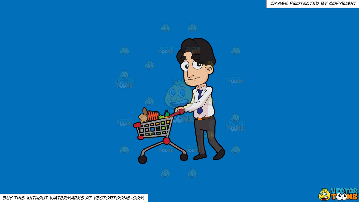 A Man Shops For Groceries After Work On A Solid Spanish Blue 016fb9 Background thumbnail