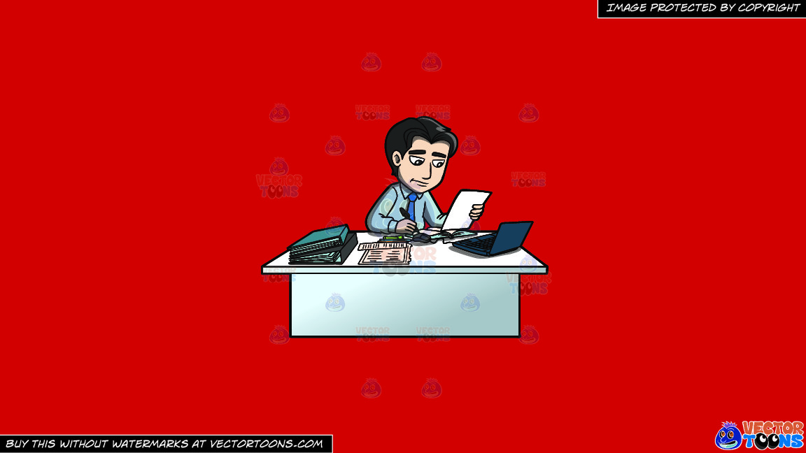 A Man Sitting At His Desk Taking Notes On A Solid Fire Engine Red C81d25 Background thumbnail
