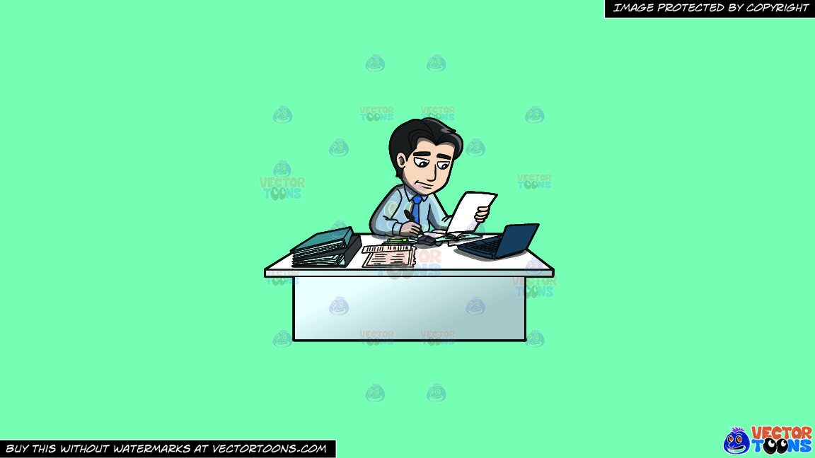 A Man Sitting At His Desk Taking Notes On A Solid Turquiose 41ead4 Background thumbnail