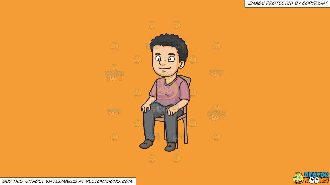 A Man Sitting On A Chair On A Solid Deep Saffron Gold F49d37 Background thumbnail