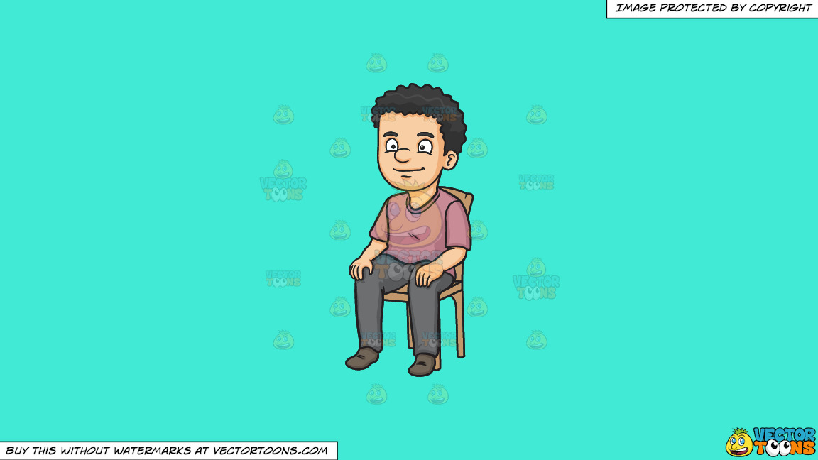 A Man Sitting On A Chair On A Solid Turquiose 41ead4 Background thumbnail