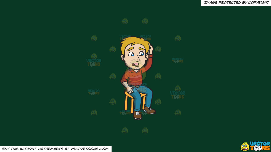 A Man Sitting On A Stool Scratching His Head And Looking Confused On A Solid Dark Green 093824 Background thumbnail