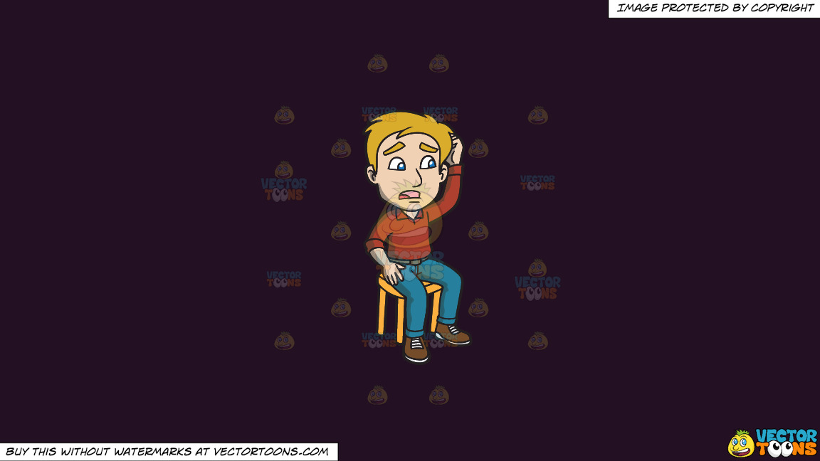A Man Sitting On A Stool Scratching His Head And Looking Confused On A Solid Purple Rasin 241023 Background thumbnail
