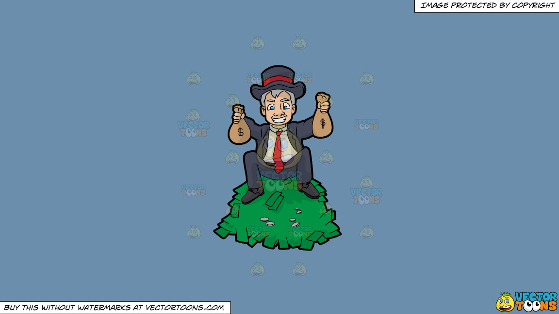 A Man Sitting On Top A Pile Of Cash And Holding Money Bags In His Hands On A Solid Shadow Blue 6c8ead Background thumbnail