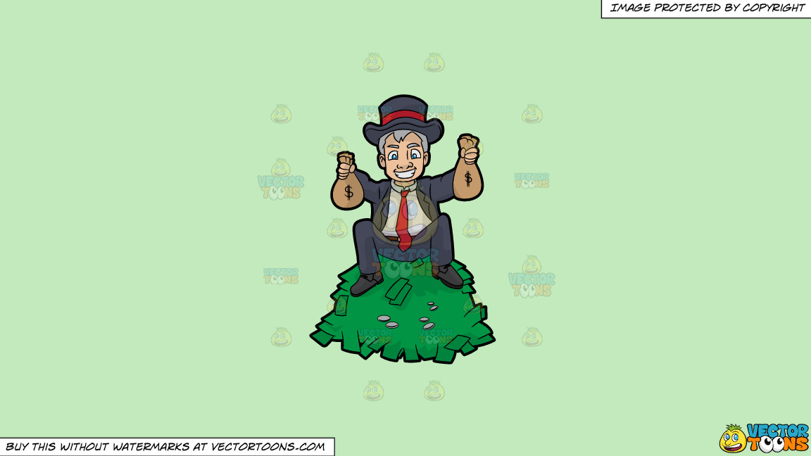 A Man Sitting On Top A Pile Of Cash And Holding Money Bags In His Hands On A Solid Tea Green C2eabd Background thumbnail