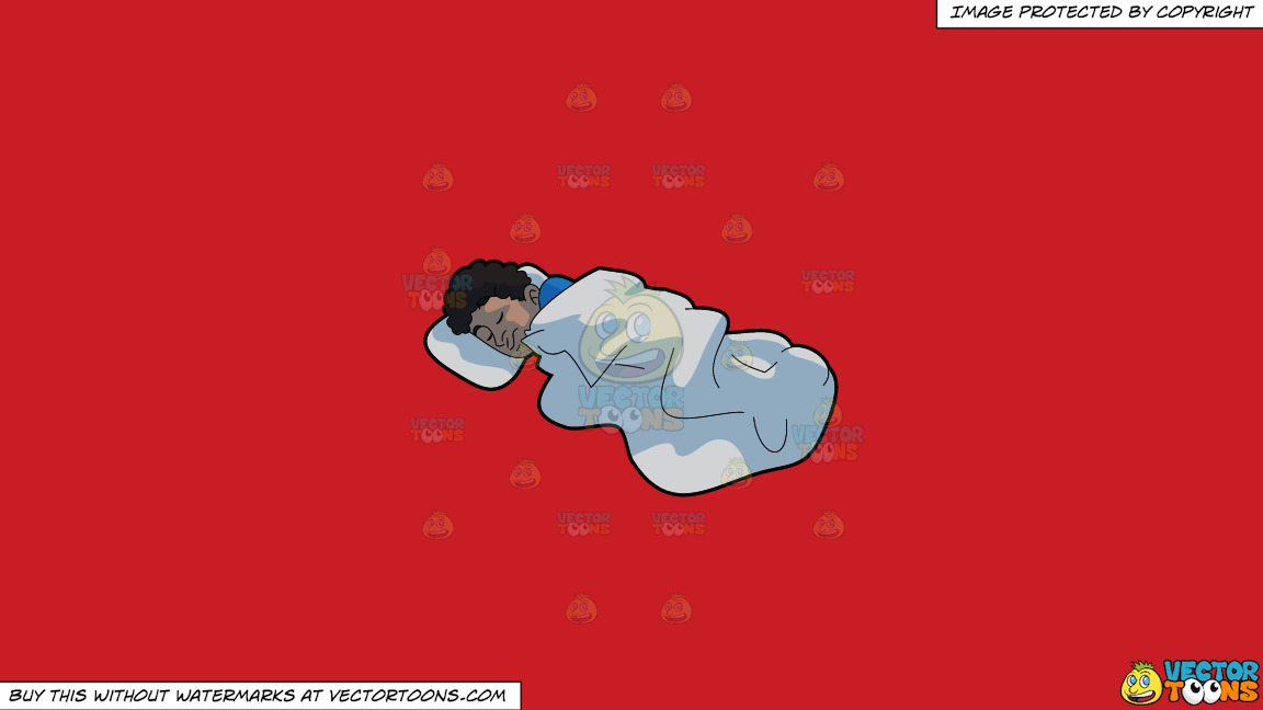 A Man Sleeping Comfortably On A Solid Fire Engine Red C81d25 Background thumbnail