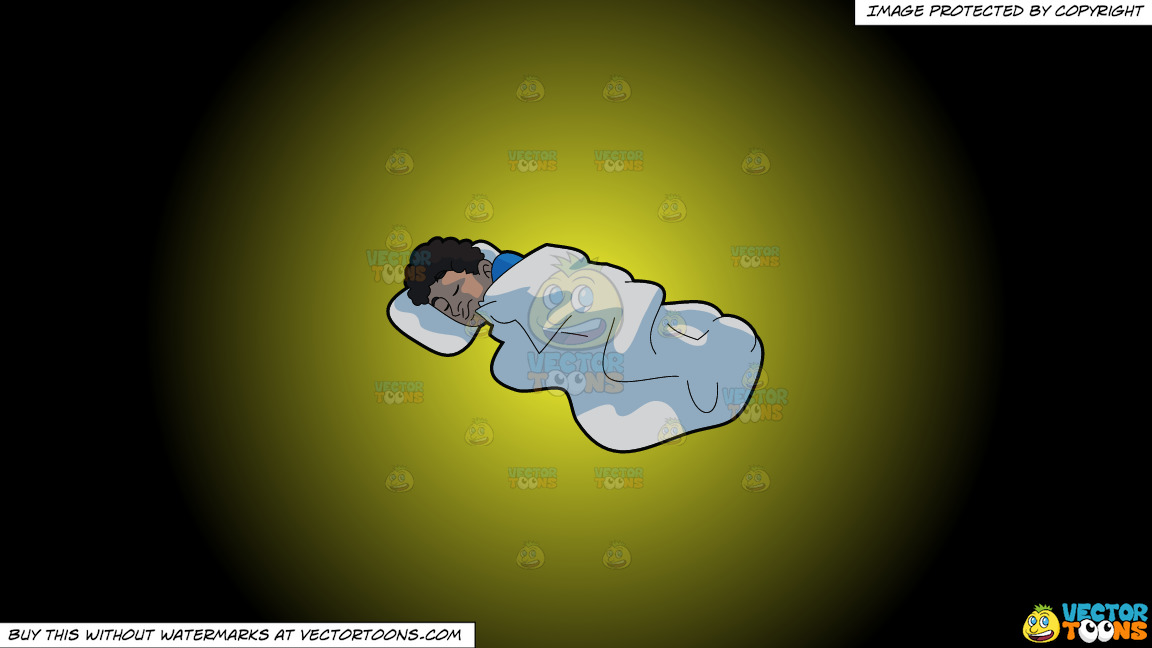 A Man Sleeping Comfortably On A Yellow And Black Gradient Background thumbnail