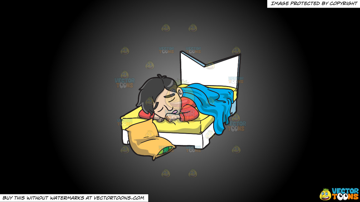 A Man Sleeping In His Bed On A Grey And Black Gradient Background thumbnail