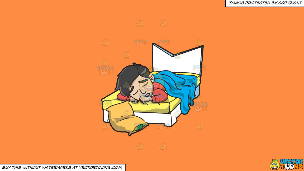 A Man Sleeping In His Bed On A Solid Mango Orange Ff8c42 Background thumbnail