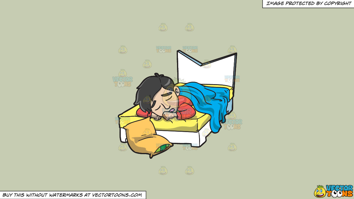 A Man Sleeping In His Bed On A Solid Pale Silver C6ccb2 Background thumbnail