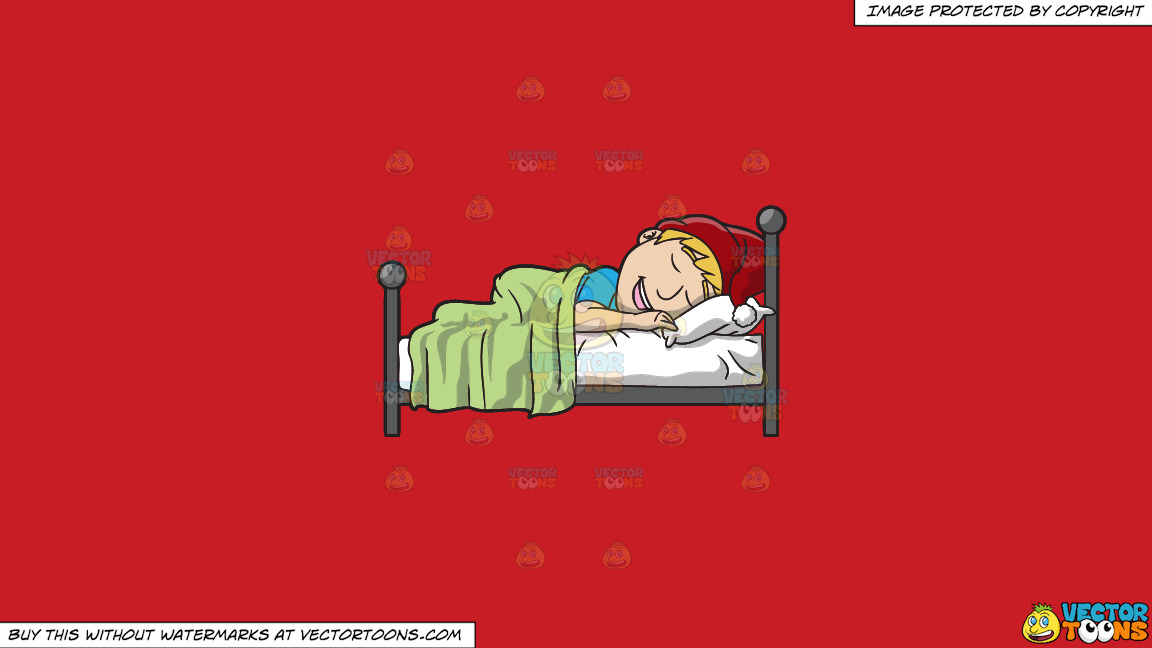 A Man Sleeping In On Christmas Day On A Solid Fire Engine Red C81d25 Background thumbnail