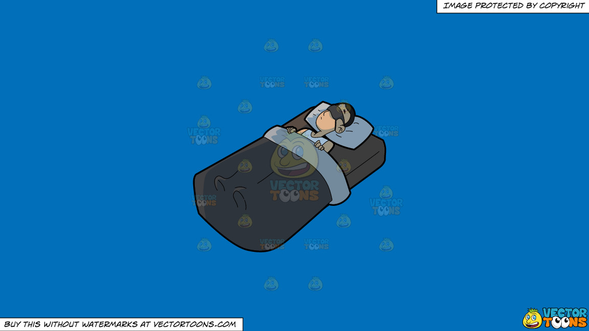 A Man Sleeping Soundly On A Solid Spanish Blue 016fb9 Background thumbnail