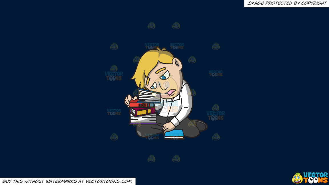 A Man Slumped Over A Stack Of Books On A Solid Dark Blue 011936 Background thumbnail