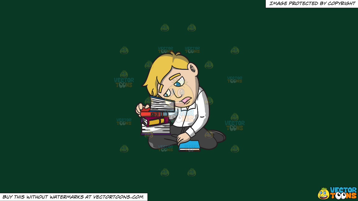 A Man Slumped Over A Stack Of Books On A Solid Dark Green 093824 Background thumbnail