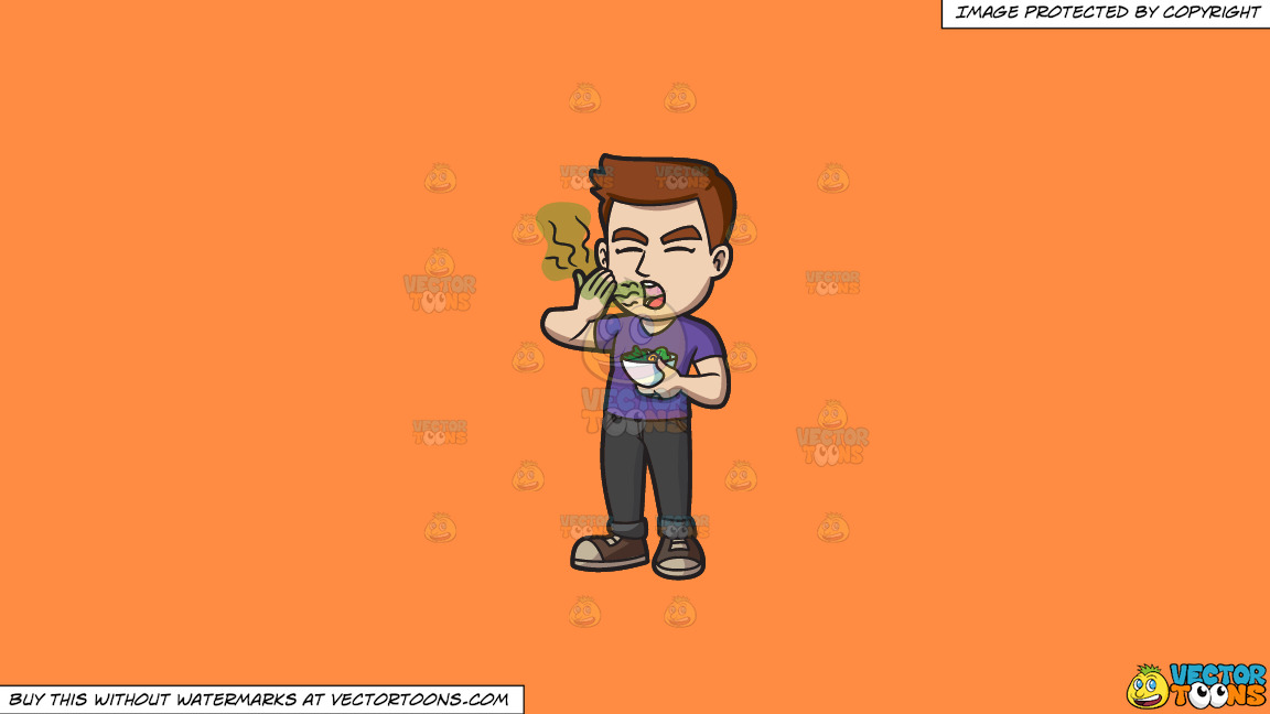 A Man Smelling His Bad Breath After Eating A Bowl Of Salad On A Solid Mango Orange Ff8c42 Background thumbnail
