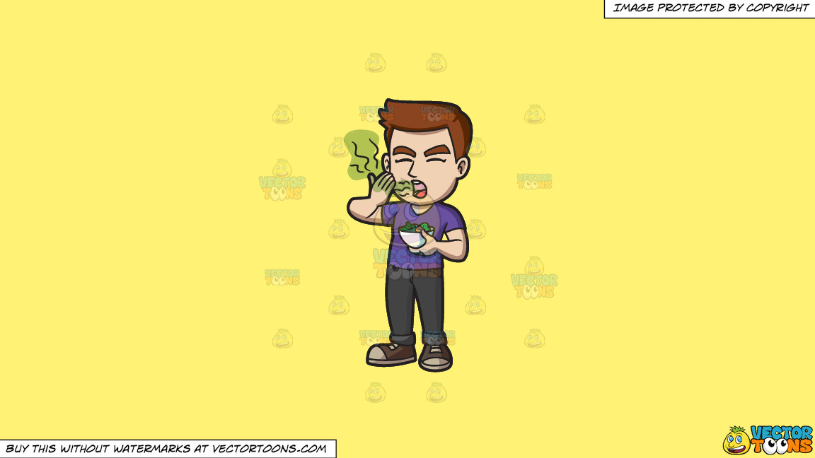 A Man Smelling His Bad Breath After Eating A Bowl Of Salad On A Solid Sunny Yellow Fff275 Background thumbnail