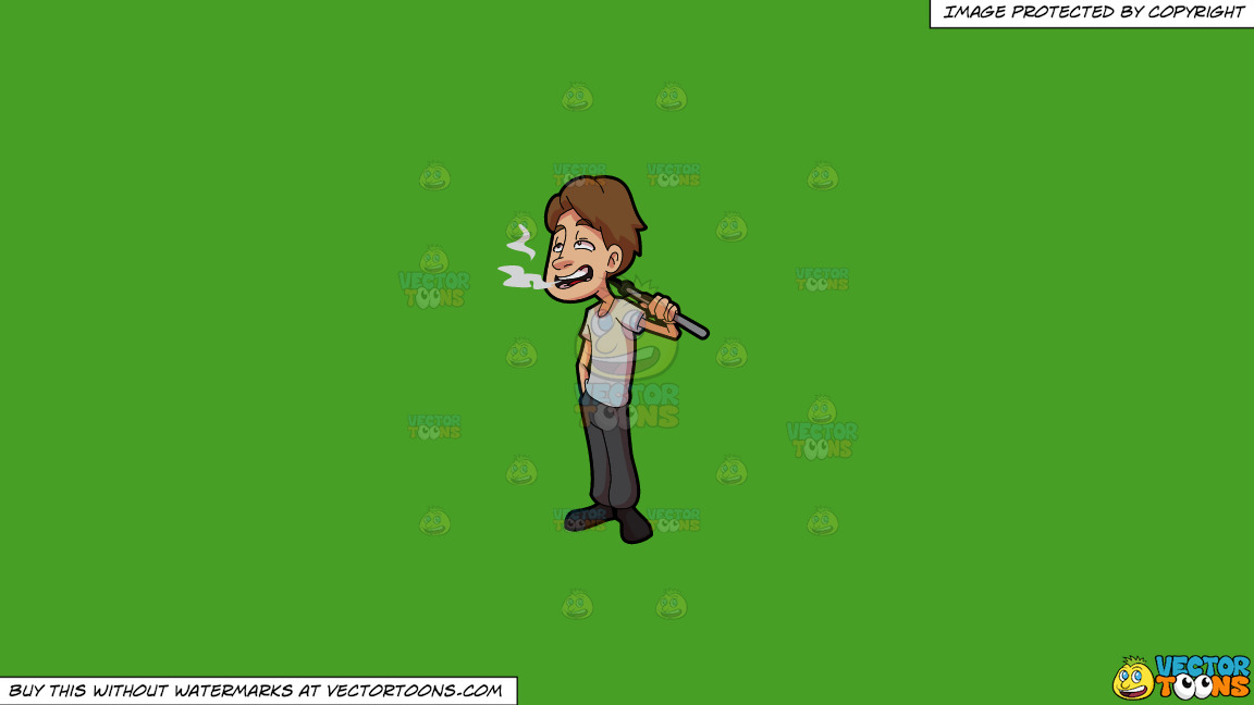 A Man Smoking Weed Using Vape On A Solid Kelly Green 47a025 Background thumbnail