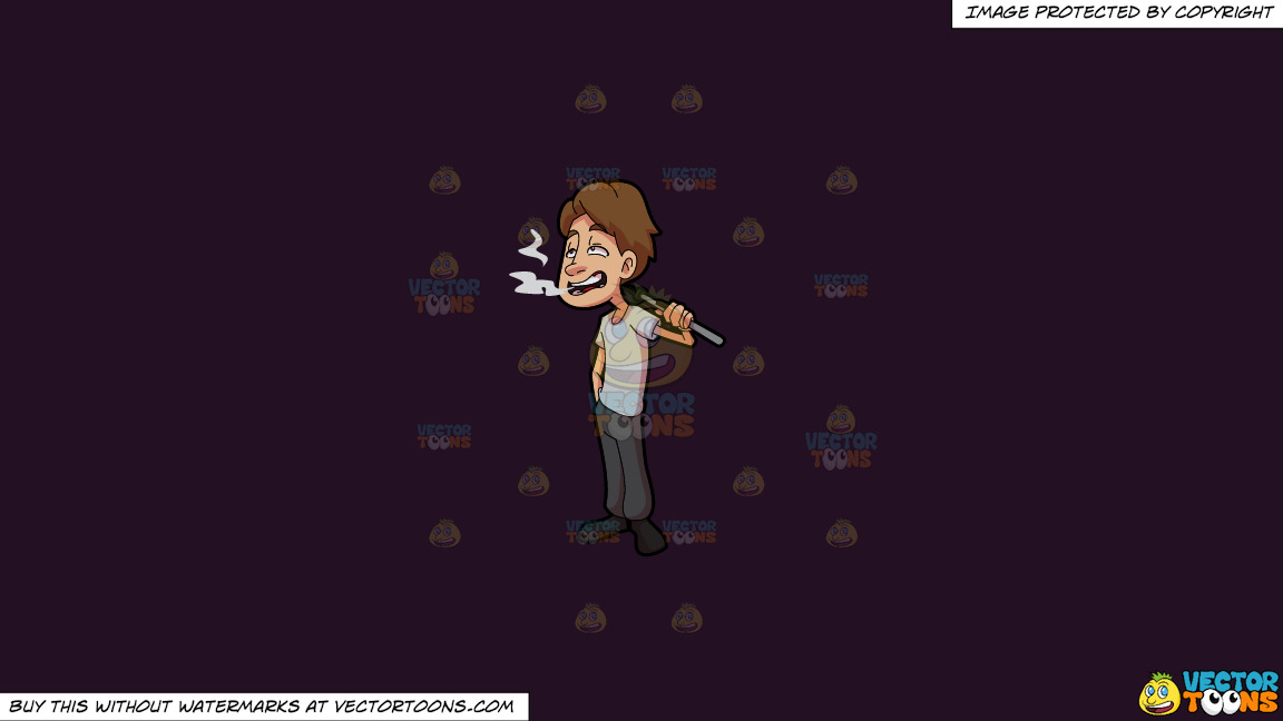 A Man Smoking Weed Using Vape On A Solid Purple Rasin 241023 Background thumbnail