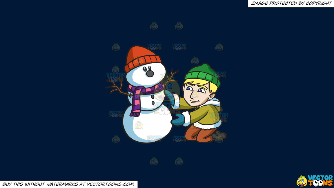A Man Smoothening The Body Of His Snowman On A Solid Dark Blue 011936 Background thumbnail