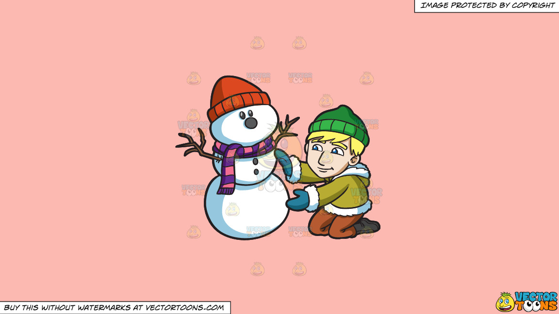 A Man Smoothening The Body Of His Snowman On A Solid Melon Fcb9b2 Background thumbnail