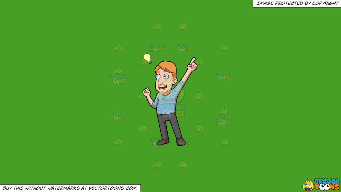 A Man Suddenly Thinks Of A Great Idea On A Solid Kelly Green 47a025 Background thumbnail