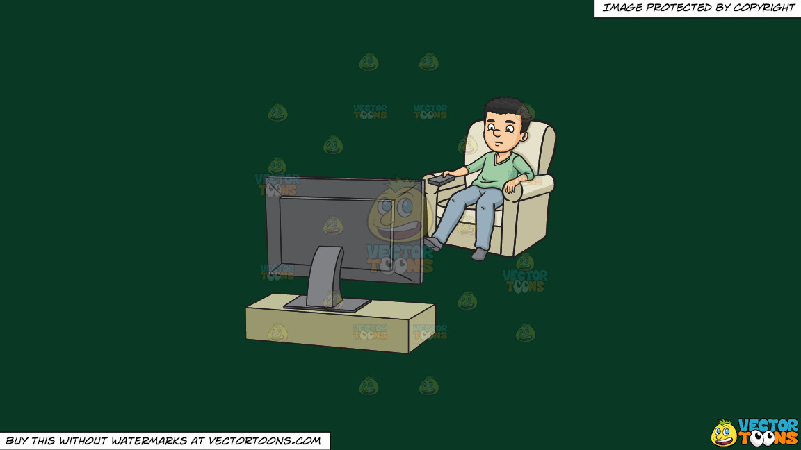 A Man Switching To A Different Tv Station On A Solid Dark Green 093824 Background thumbnail