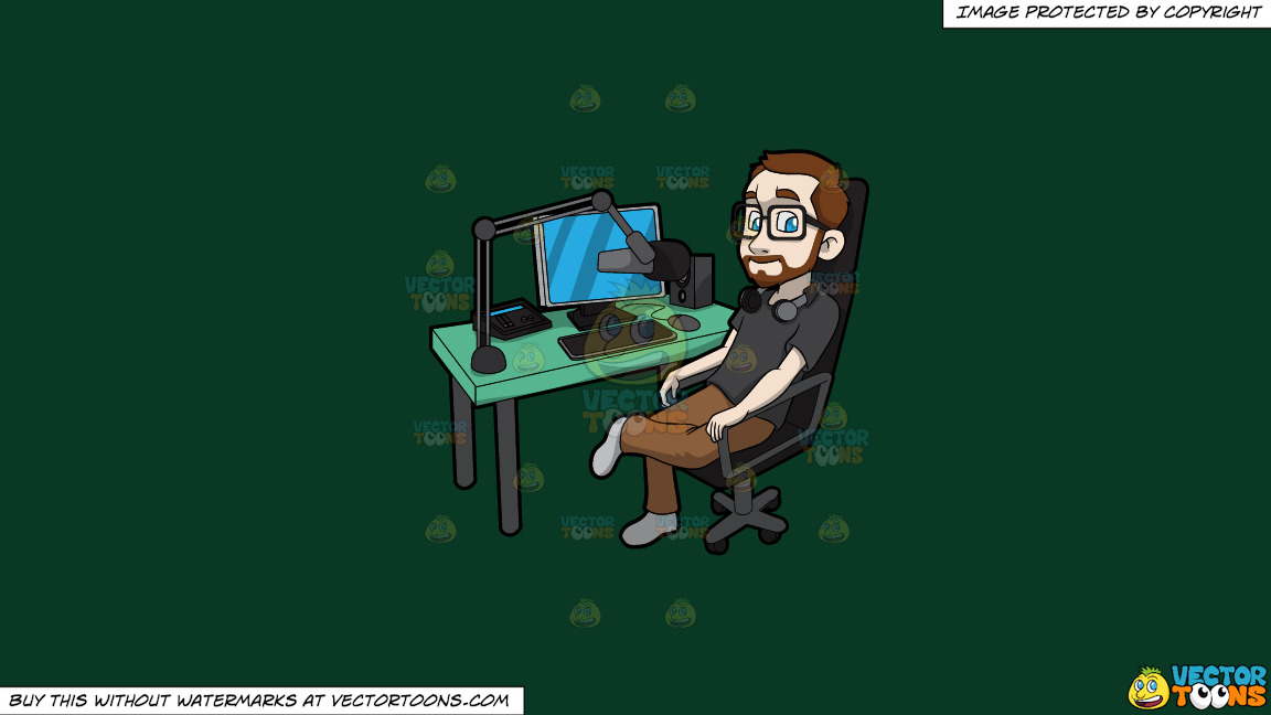 A Man Takes A Break From Recording A Podcast On A Solid Dark Green 093824 Background thumbnail