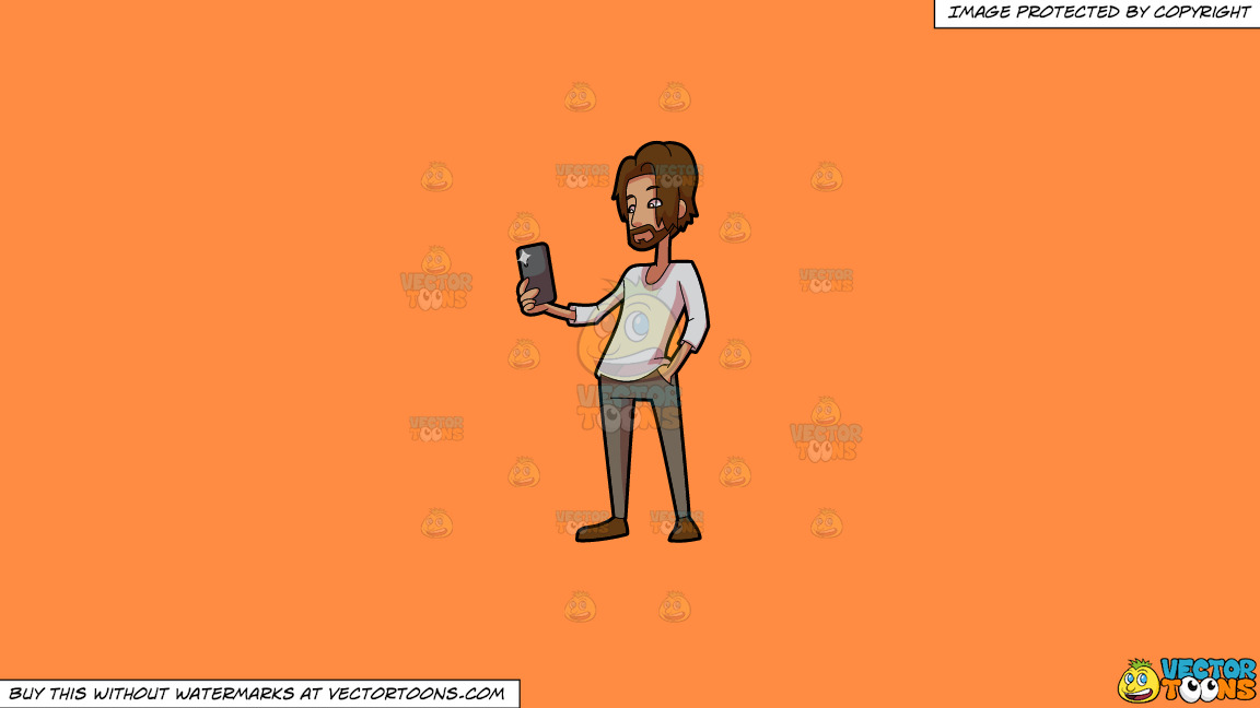 A Man Takes A Flash Photo Using His Smart Phone On A Solid Mango Orange Ff8c42 Background thumbnail
