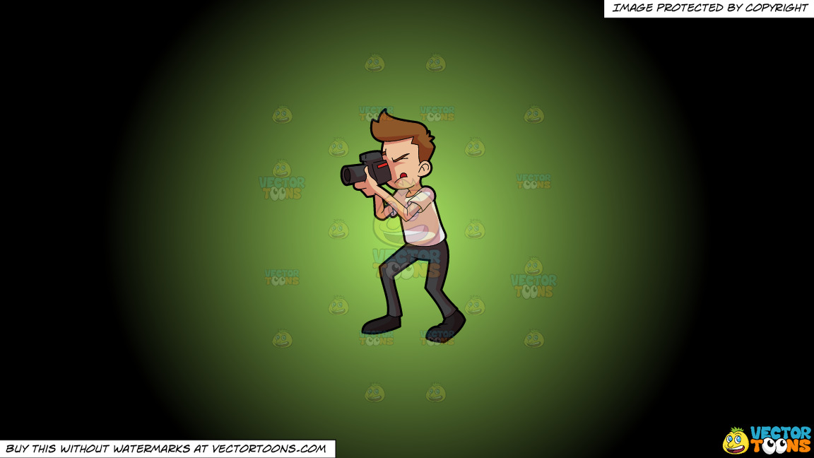 A Man Taking A Photo Using A Professional Camera On A Green And Black Gradient Background thumbnail