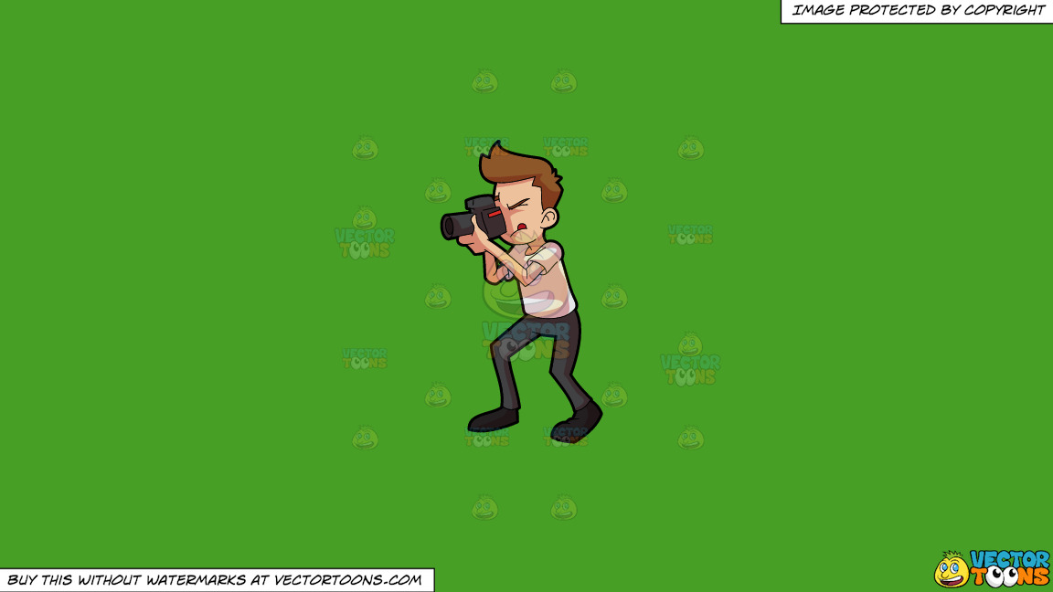 A Man Taking A Photo Using A Professional Camera On A Solid Kelly Green 47a025 Background thumbnail