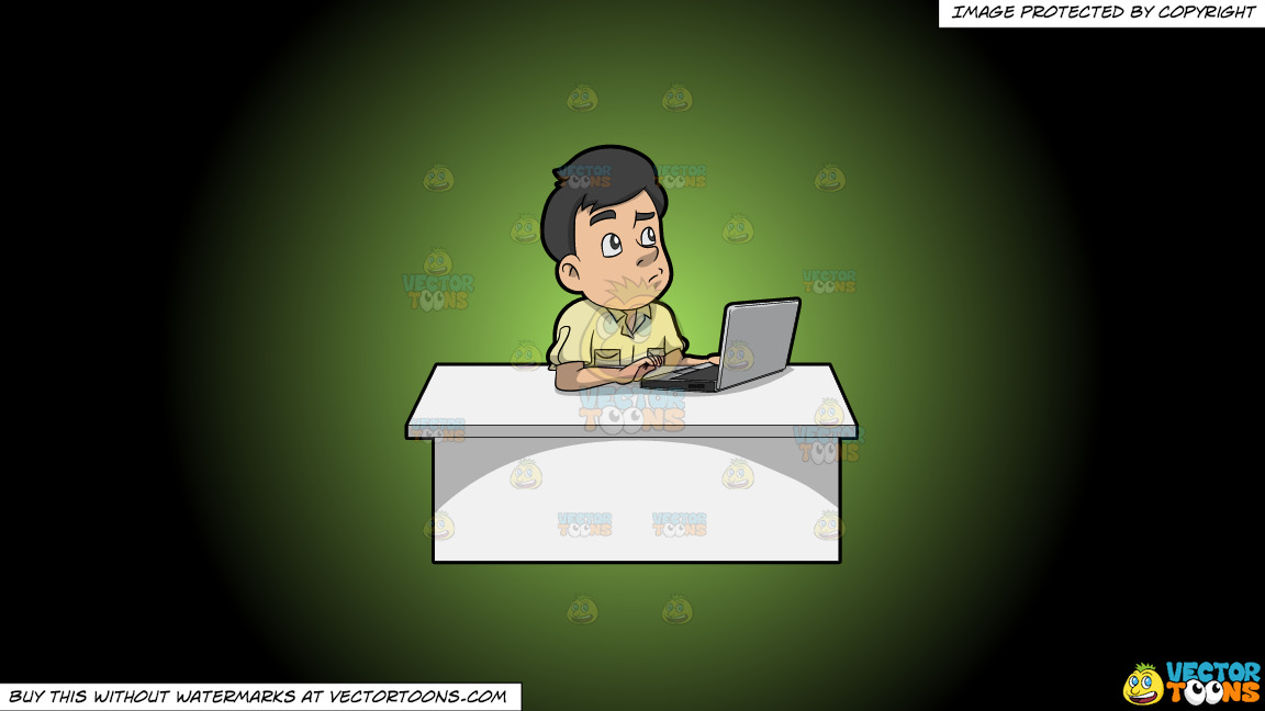 A Man Thinking Of Ideas While Using His Laptop On A Green And Black Gradient Background thumbnail