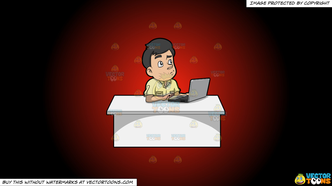 A Man Thinking Of Ideas While Using His Laptop On A Red And Black Gradient Background thumbnail