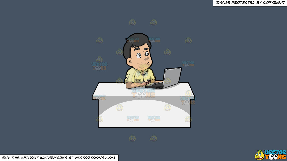A Man Thinking Of Ideas While Using His Laptop On A Solid Metal Grey 465362 Background thumbnail