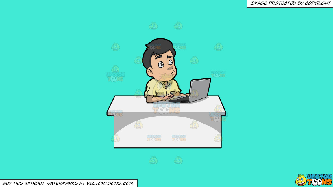 A Man Thinking Of Ideas While Using His Laptop On A Solid Turquiose 41ead4 Background thumbnail