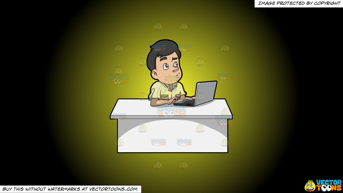 A Man Thinking Of Ideas While Using His Laptop On A Yellow And Black Gradient Background thumbnail